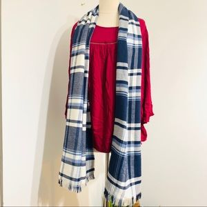 Accessories - Blue and White Checkered Shawl/Scarf